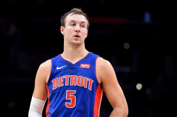WASHINGTON, DC - NOVEMBER 04: Luke Kennard #5 of the Detroit Pistons looks on against the Washington Wizards during the first half at Capital One Arena on November 4, 2019 in Washington, DC. NOTE TO USER: User expressly acknowledges and agrees that, by downloading and or using this photograph, User is consenting to the terms and conditions of the Getty Images License Agreement. (Photo by Will Newton/Getty Images)