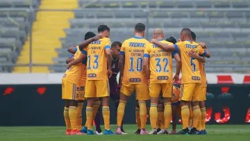 Tigres UANL players prior to a match.