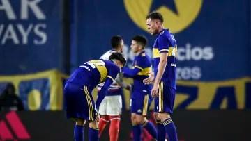 Boca Juniors v San Lorenzo - Professional League Tournament 2021 - Boca laments after the defeat.