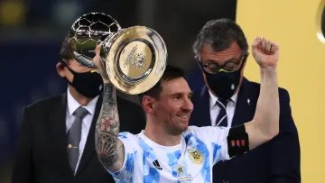 Messi lifting the Copa América