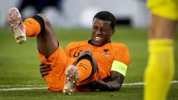 Wijnaldum on the ground after suffering a blow in his match with the national team