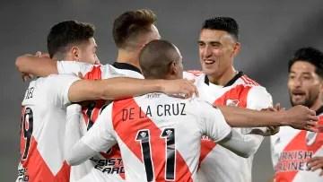 River Plate v Argentinos Juniors - CONMEBOL Libertadores Cup 2021 - River celebrates Suárez's goal.