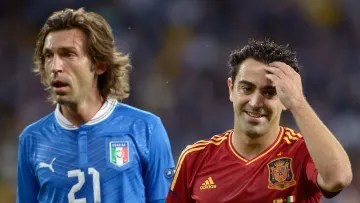 Andrea Pirlo and Xavi Hernandez contesting the final of the Eurocup