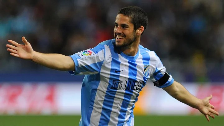 Malaga's midfielder Isco celebrates afte