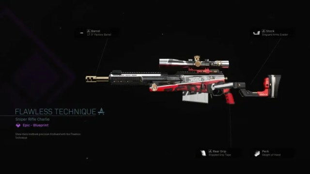 The Flawless Technique Warzone Blueprint adds a red and white pattern to the AX-50.