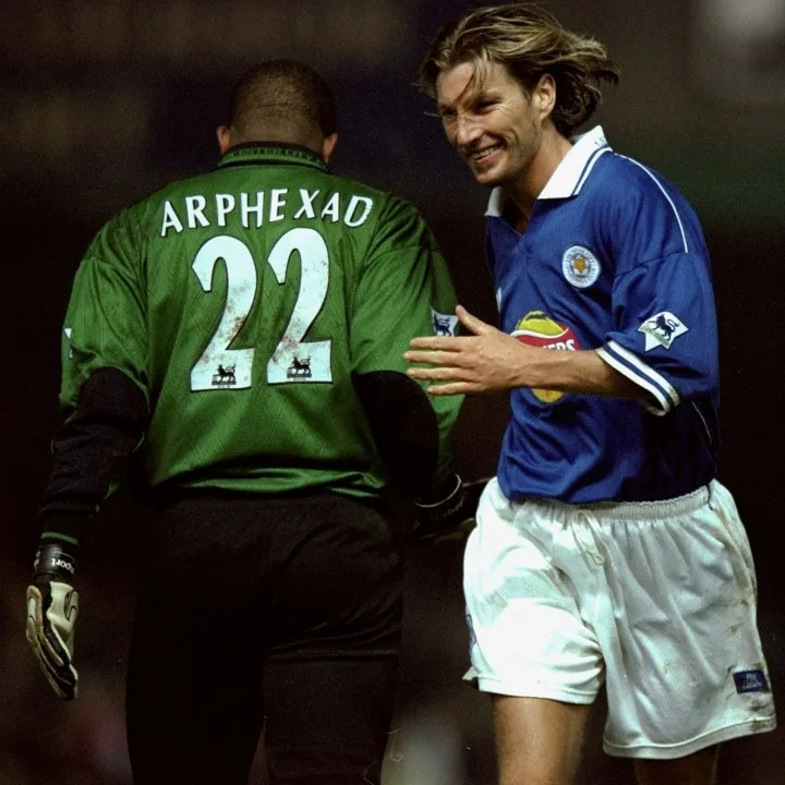 Robbie Savage and Pegguy Arphexad of Leicester