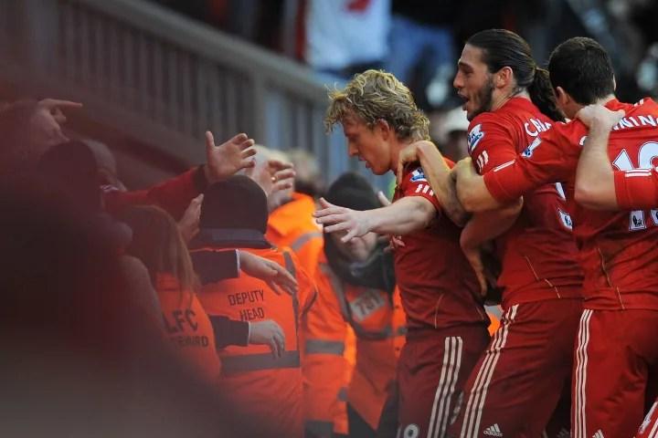 Liverpool's Dutch striker Dirk Kuyt (L)