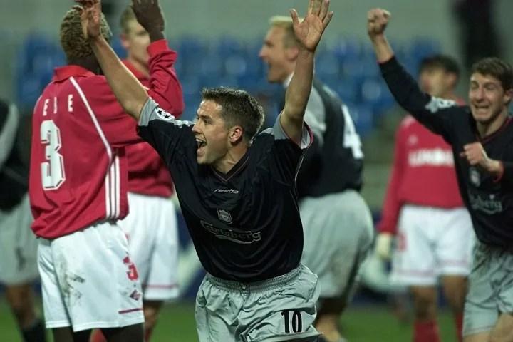 Michael Owen of Liverpool celebrates scoring