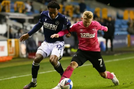 Romeo in action for Millwall against Derby County