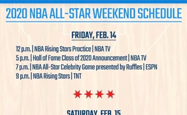 2020 Nba All Star Weekend Printable Schedule