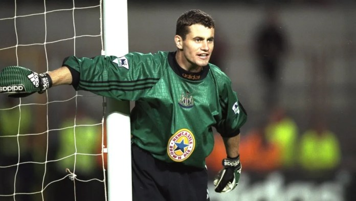 15 Jul 1997: Shay Given of Newcastle United covers his near post during the pre-season friendly against PSV Eindhoven of the Netherlands at Lansdowne Road in Dublin, Ireland. Given joined Newcastle in a 1.5 million pound transfer from Blackburn Rovers. Mandatory Credit: Ben Radford /Allsport