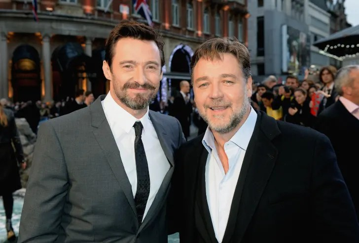 Actors Hugh Jackman and Russell Crowe attend the UK Premiere of 'Noah' at the Odeon Leicester Square on March 31, 2014 in London, England