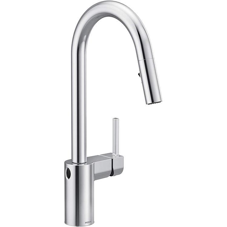 moen 7565ewc align one handle high arc pulldown kitchen faucet w motionsense chrome