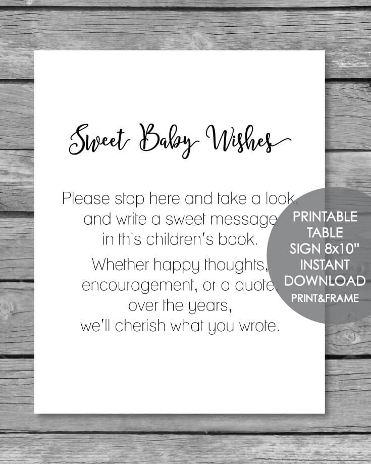 printable baby wishes book