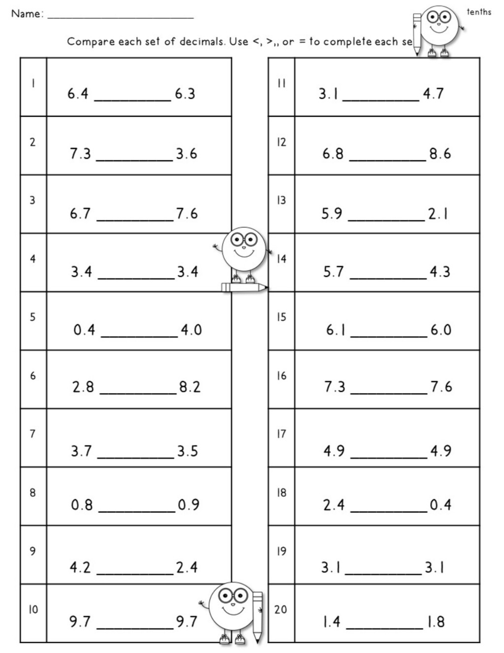 Writing Tenths And Hundredths Worksheet