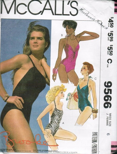 McCall's 9566 by Brooke Shields (1985) Bathing suit