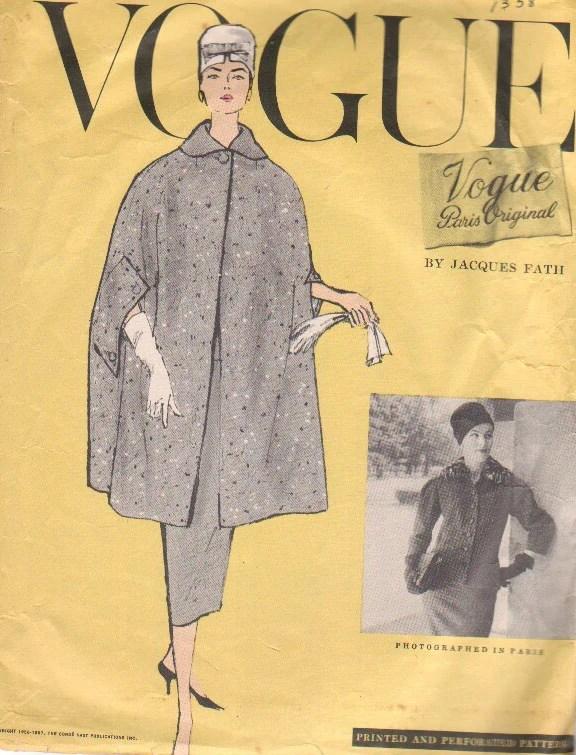 1950s cape pattern, Vogue 1358 by Jacques Fath