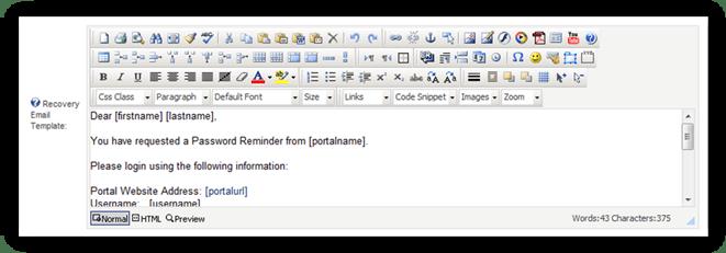 Description: Dot Net Nuke Recover PAssword Text