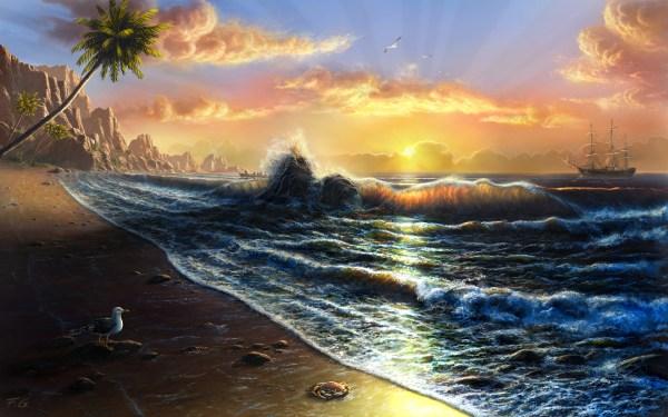 Beach Sunset Landscape Paintings