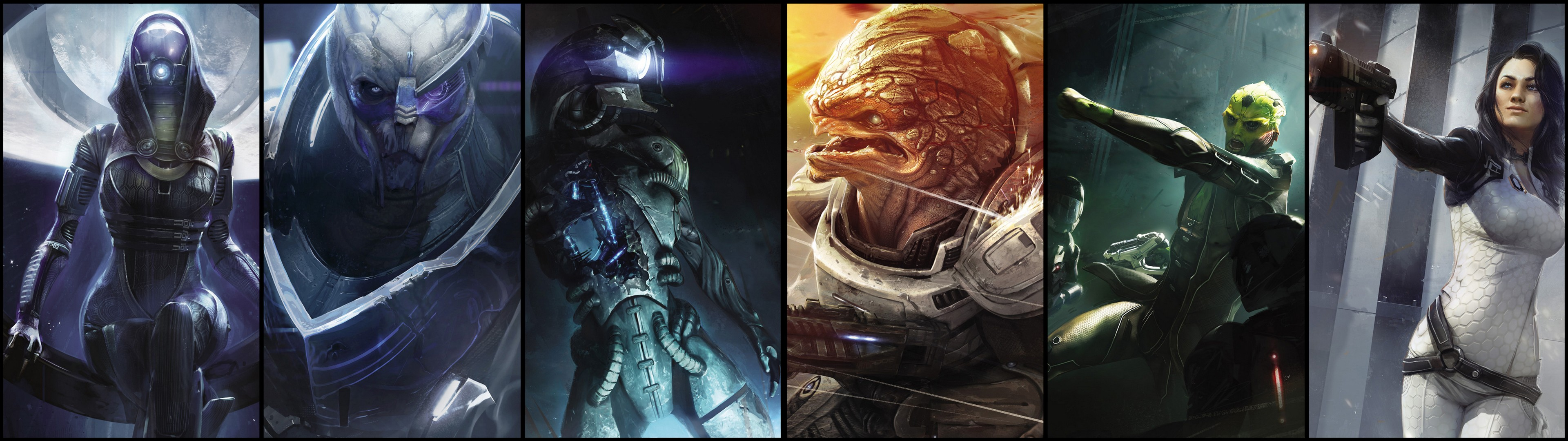 L Double Monitor Girl Wallpapers Mass Effect 2 Fond D 233 Cran Hd Arri 232 Re Plan 3840x1080