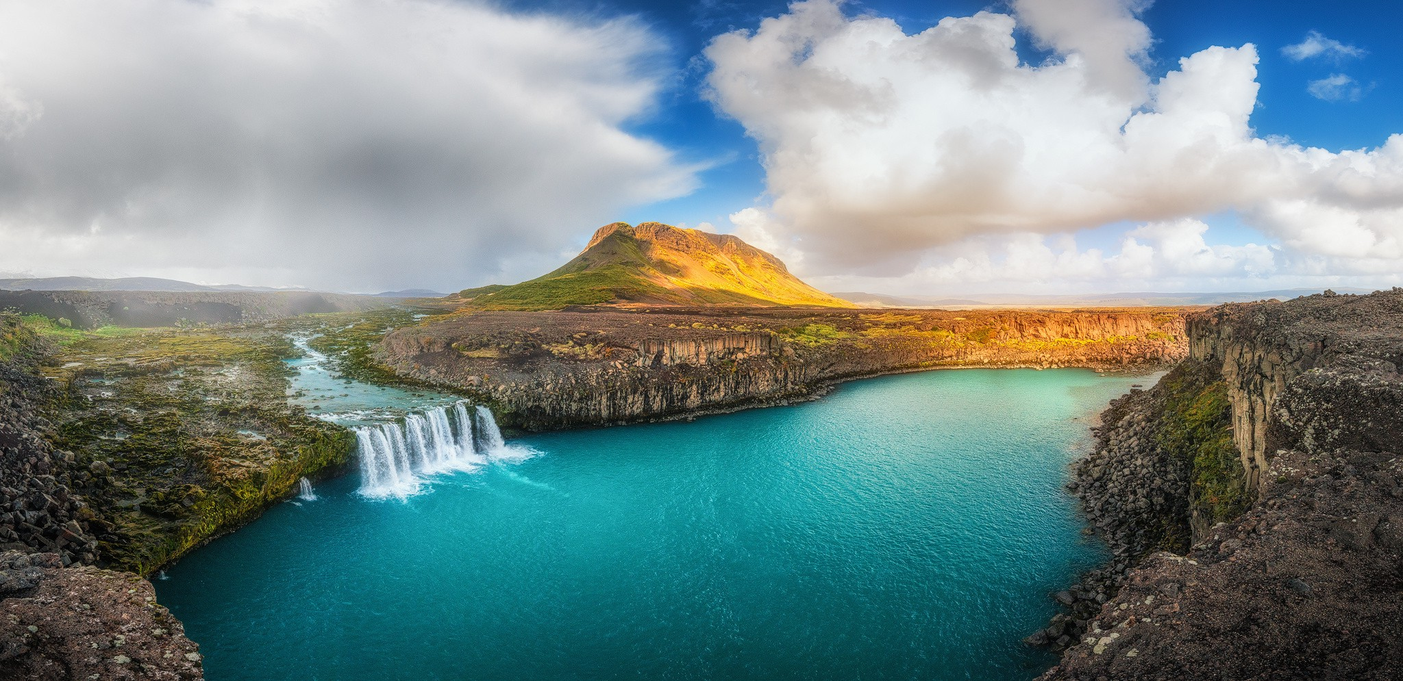 French Fall Wallpaper Waterfall And Mountain Lake In Iceland Wallpaper And