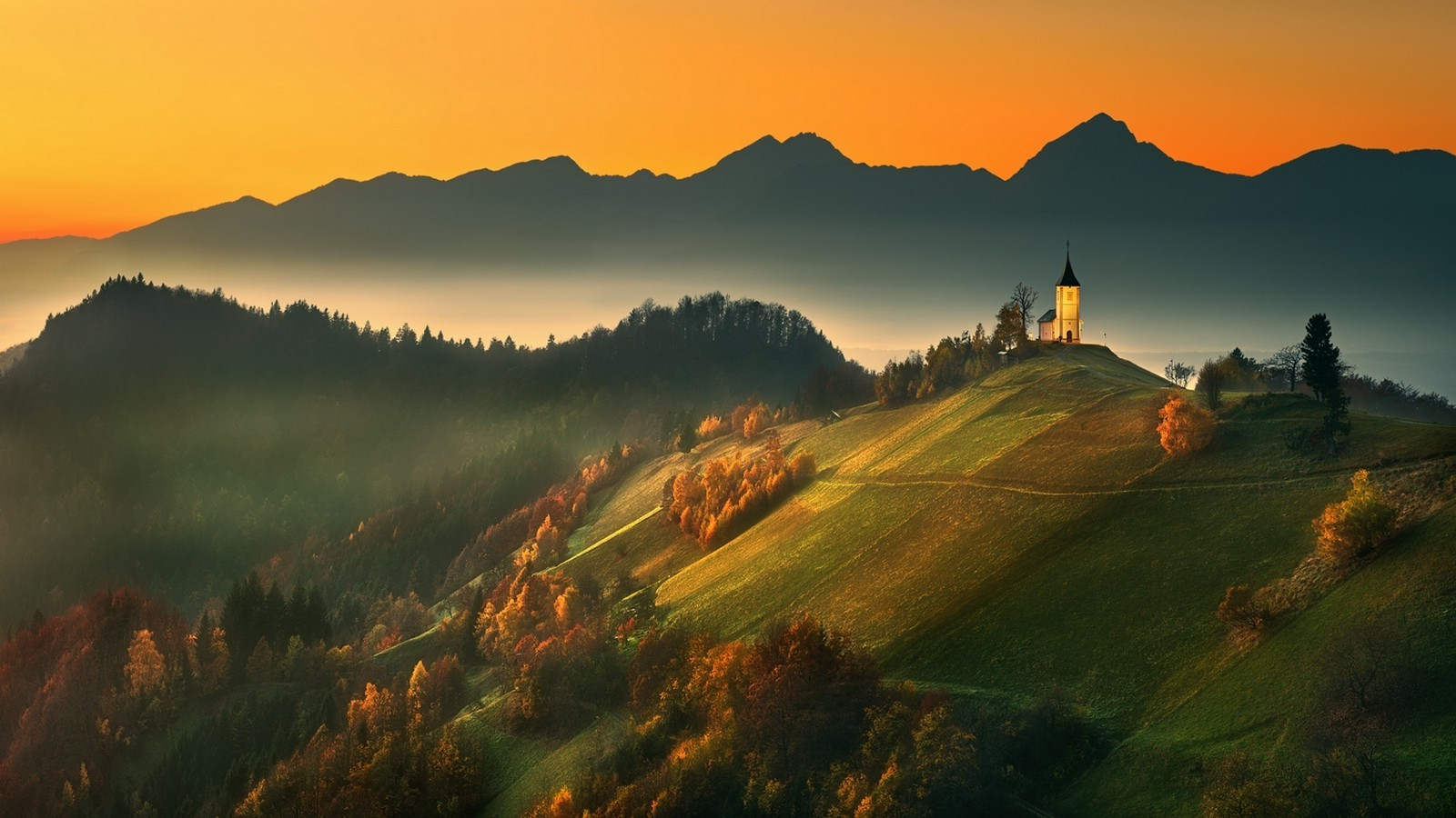 Fall Wallpaper For Large Monitors Church On Mountaintop At Sunset Wallpaper And Background