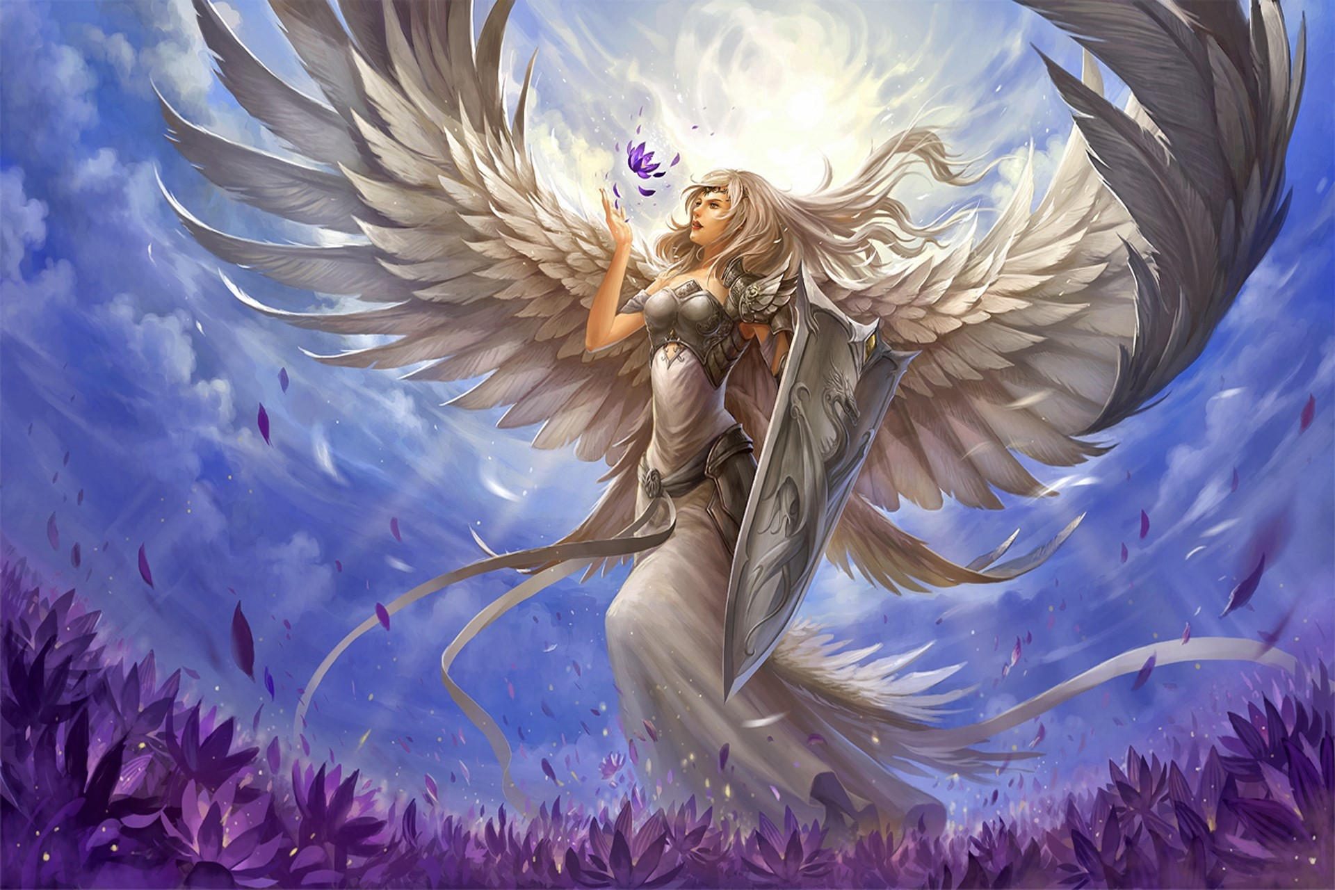 Anime Wallpaper Goddess Girl With Black And White Hair Angel Warrior Hd Wallpaper Background Image 1920x1280