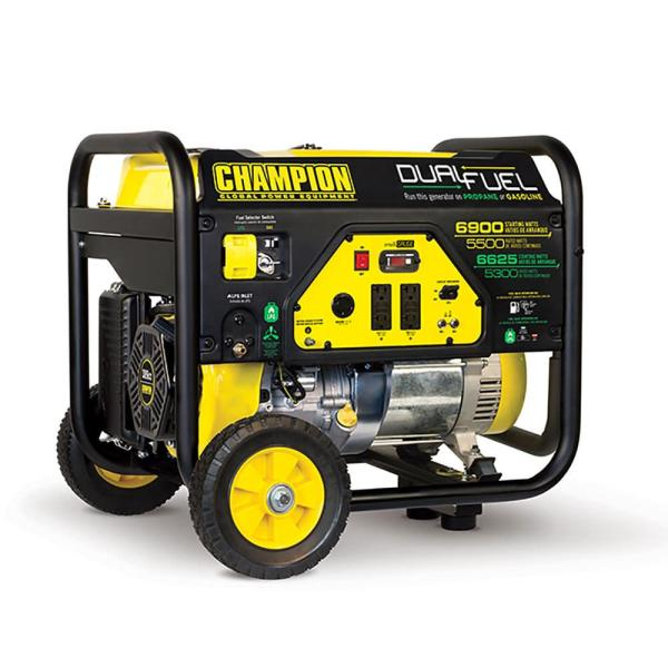 Champion 5500 Watt Dual Fuel Rv Ready Portable Generator With Wheel Kit - Generators