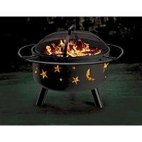 Stars and Moon Themed Solid-Steel Fire Pit/Grill Combo ...