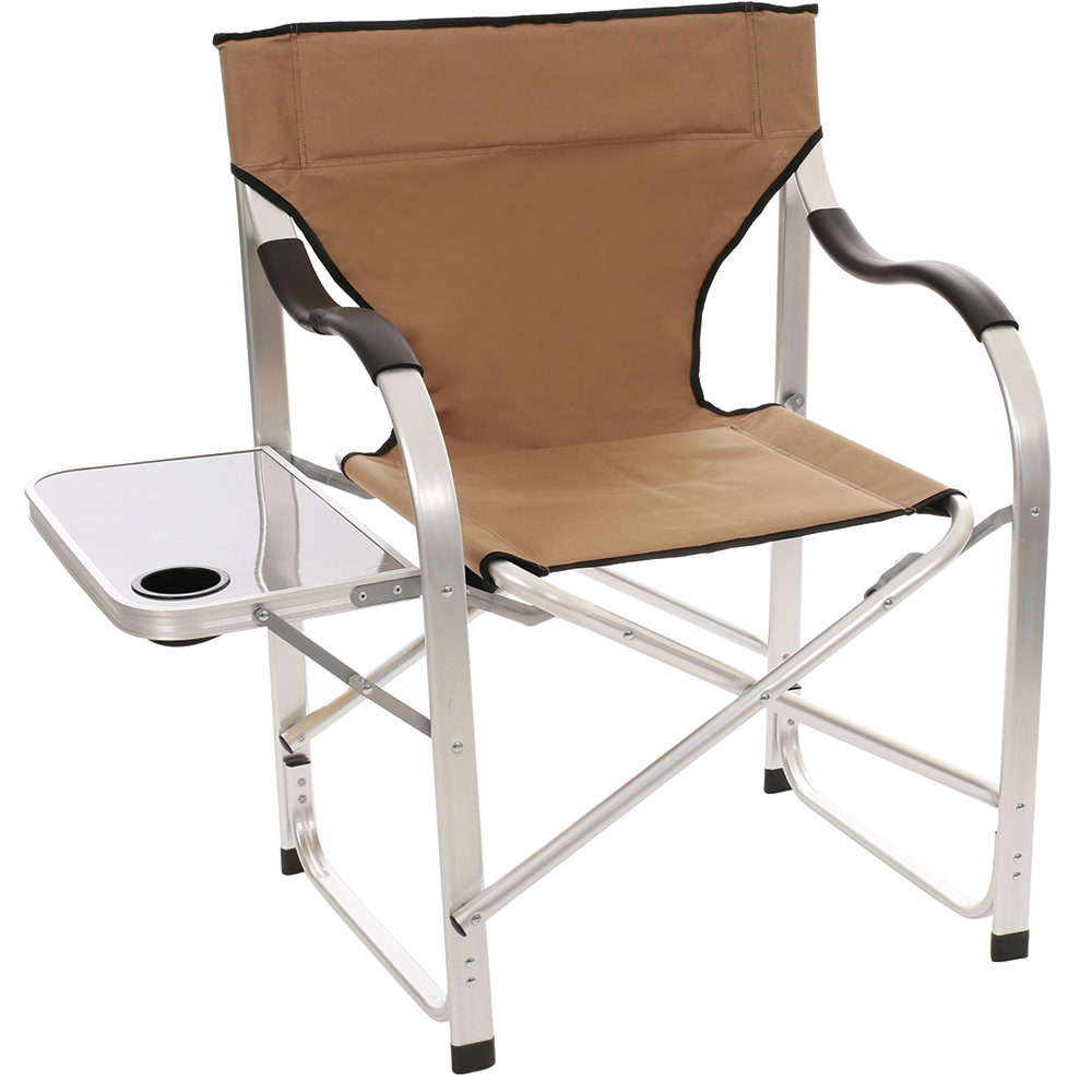 Folding Directors Chair With Side Table Aluminum Extra Large Director S Chair Tan