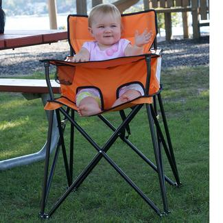 baby camp chair water ski plans kids camping chairs portable high world go anywhere highchair orange