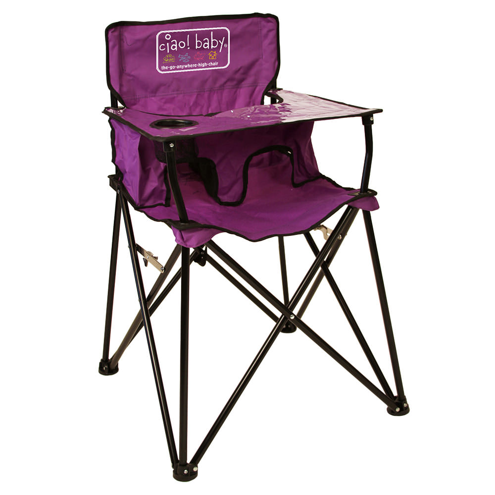 portable folding high chair wedding covers devon baby go anywhere highchair purple jamberly hb2012 kid s chairs camping world