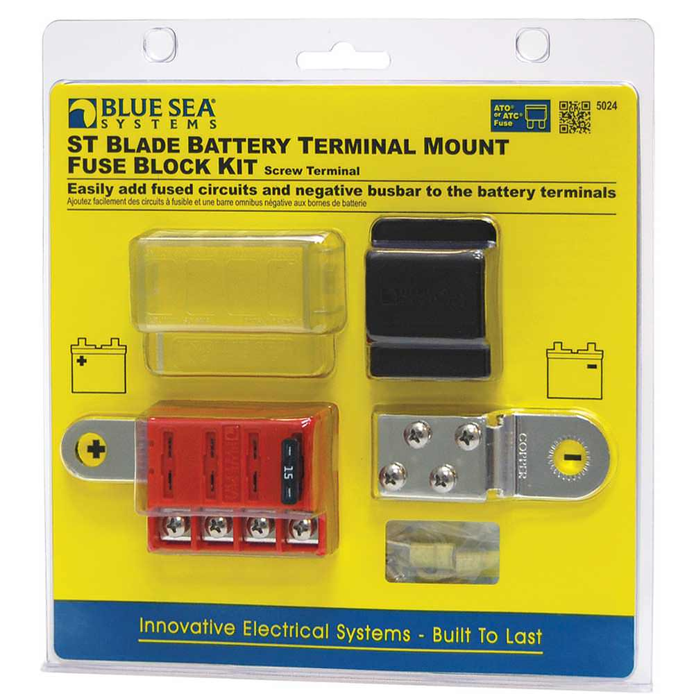 medium resolution of st blade battery terminal mount fuse block kit blue sea systems inc 5024 battery accessories camping world
