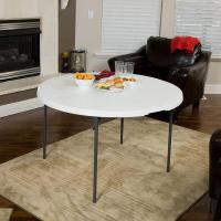 White Round Light Commercial Fold-in-Half Table, 48 ...