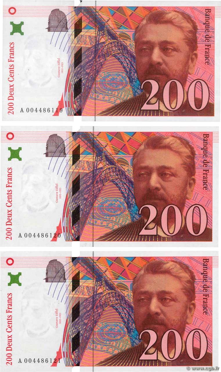 Billet De 200 Francs : billet, francs, Francs, EIFFEL, Consécutifs, FRANCE, F.75.04a, B94_9405, Banknotes