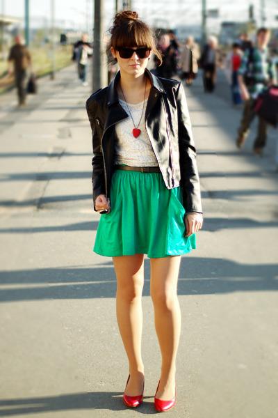 red Deichmann shoes - black Romwecom jacket - green Zara skirt