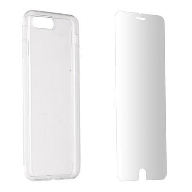 Kit 2 em 1 Celular Mart - Película de Vidro e Case de Silicone Transparente para iPhone 7/8 Plus