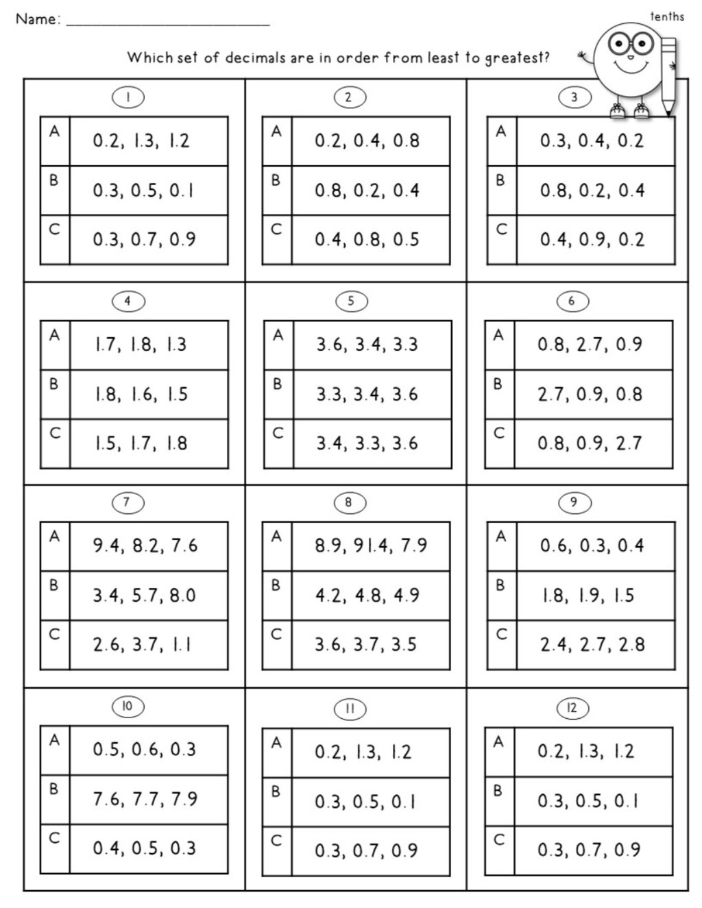 Decimal Worksheets Using Tenths And Hundredths