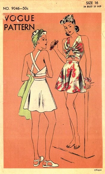 Vogue 9046 (c. 1941) Two-piece bathing suit