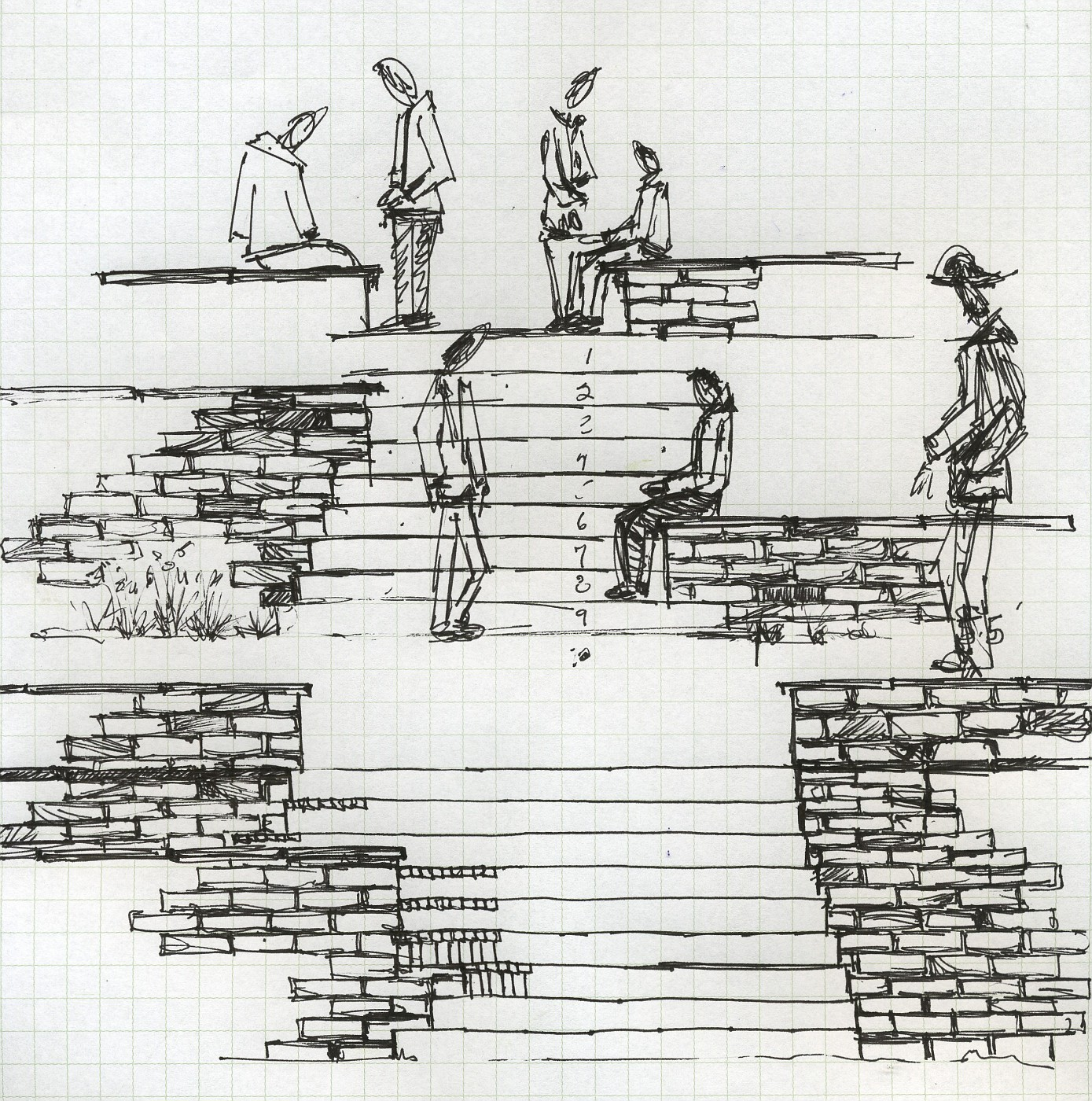 section drawing, people drawing