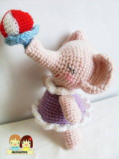 Crocheted elephant girl toy