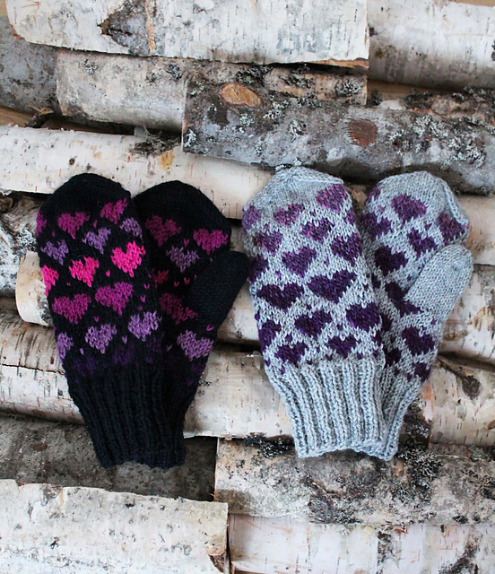 FREE Knitting Pattern ♥ Valentine Mittens by Milla H.