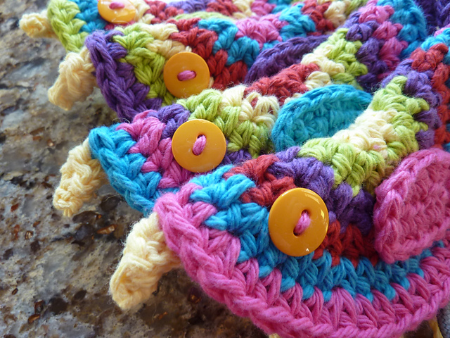 crocheted birds closeup