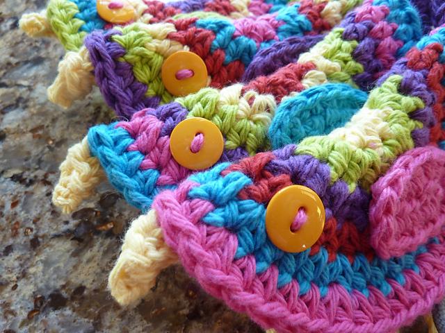 crocheted birds closeup