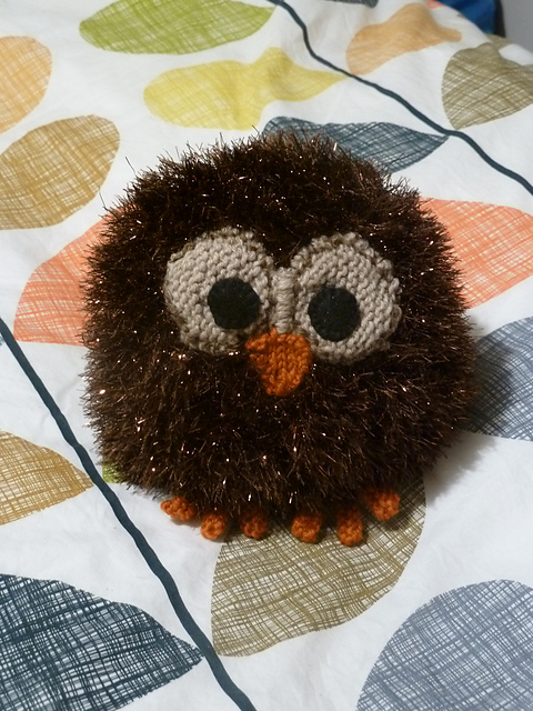 Knitted owl ornament