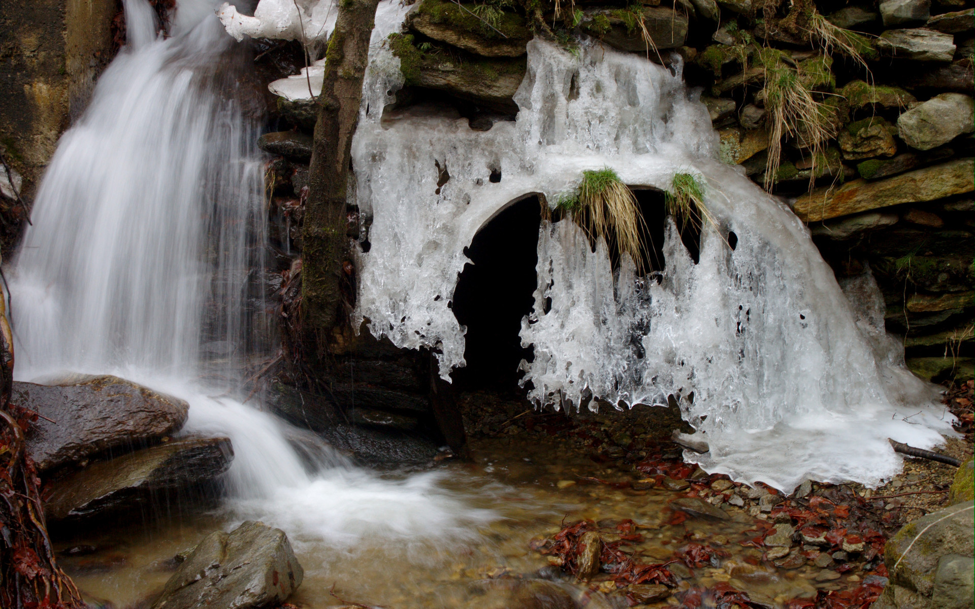 Cool Wallpapers Water Fall Melting Snow Near Cascade Full Hd Wallpaper And Background