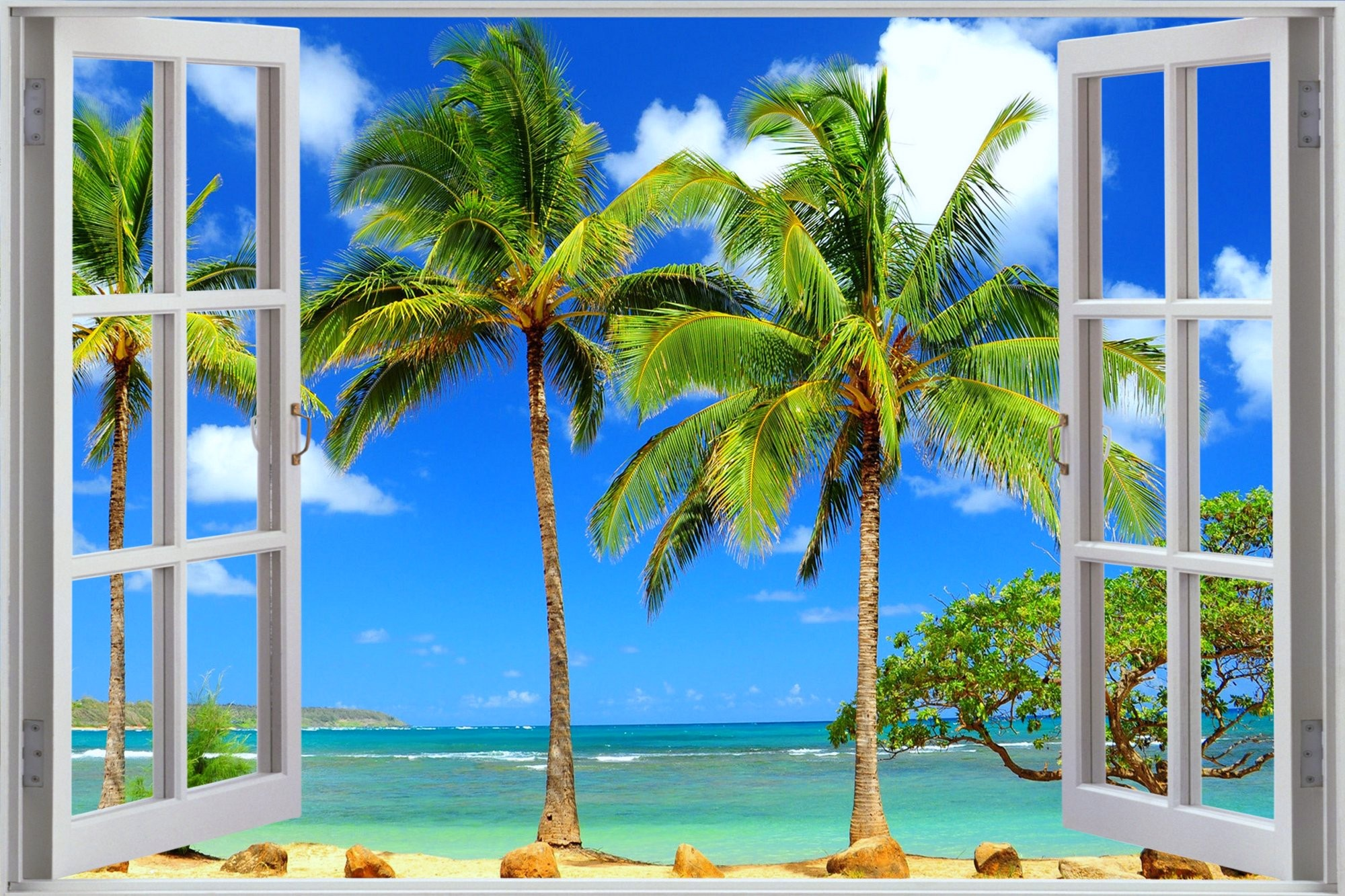 Window to Tropical Beach Full HD Wallpaper and Background