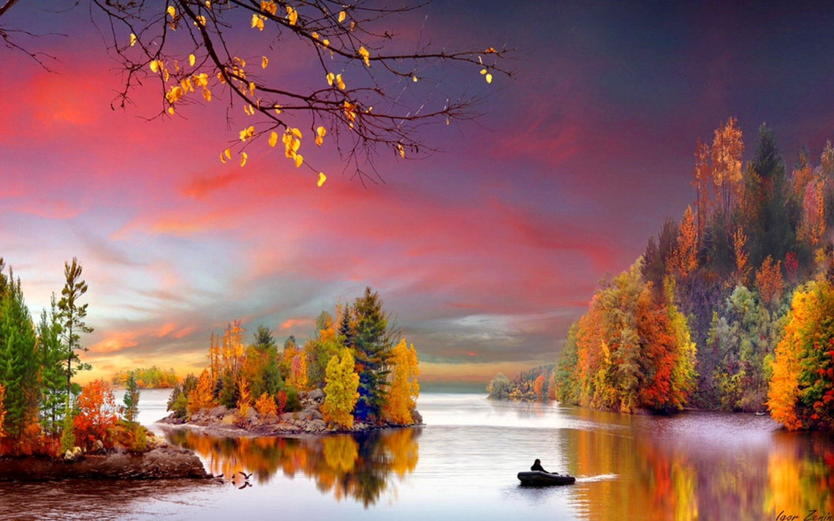 Fall Wallpaper 1080x1920 Boat On Autumn Lake Wallpaper And Background Image