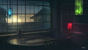 dark anime background sunset wall