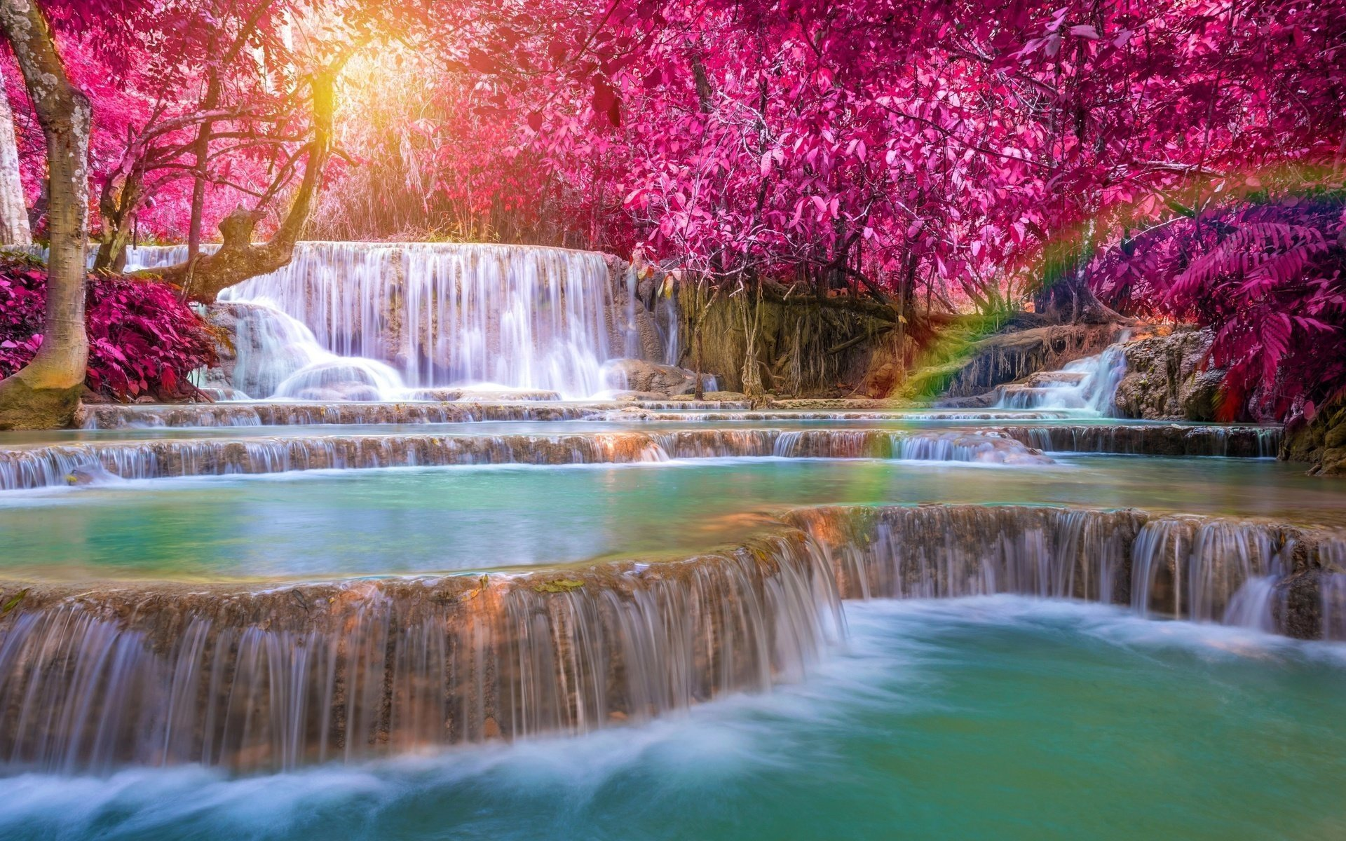 Kuang Si Falls Hd Wallpaper 1920 Wasserfall Hd Wallpaper Hintergrund 1920x1200 Id